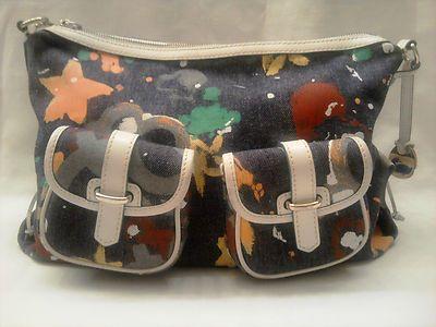 DOONEY & BOURKE Blue Denim Splash Hobo Shoulder Bag Multi-Color