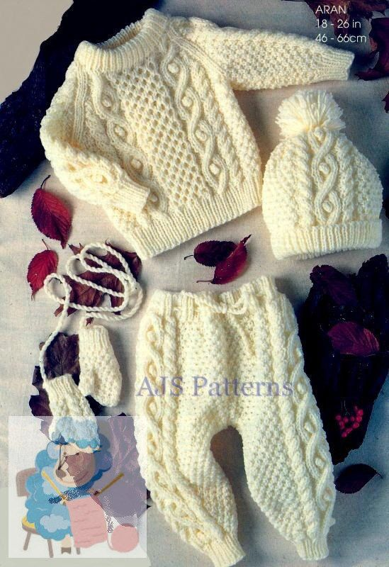 This PDF Knitting Pattern is for an Aran Babies and Childrens Outdoor Set. There are instructions for making a Sweater, Leggings, Mittens and a Cap. To fit chest sizes 18 inch to 26 inch.    Knitted in Aran wool. Needle size 4.5 mm (UK No. 7-USA 7) & 5.5 mm (UK No.5- USA 9).    Your PDF pattern will be available as an instant download from etsy upon confirmation of your payment.  You will require adobe reader to open this format, which is a free download from Adobe.  B780 S
