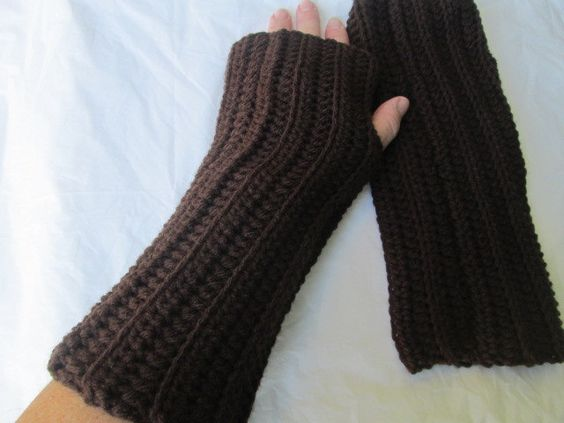 Brown arm warmers, chocolate brown gloves, finger less gloves, wrist warmers, winter accessories, tween and teen, women's accessories by Purplecatzcrochet on Etsy