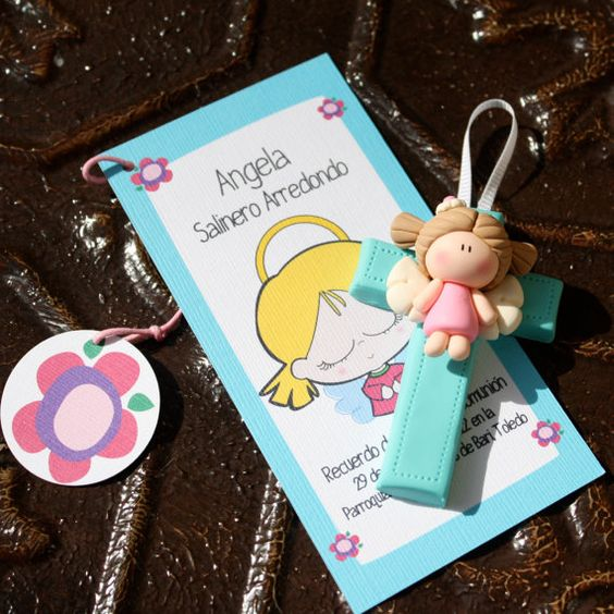 Bookmark and angel First Communion Baptism Baby Shower by gavo, $12.00