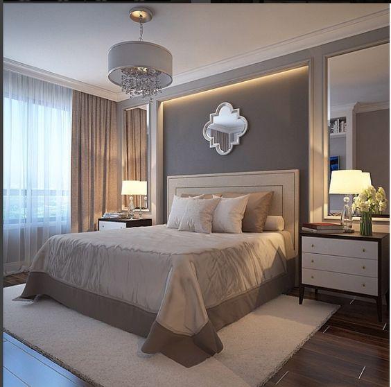 Avangard yatak odası çıta içi ayna uygulaması