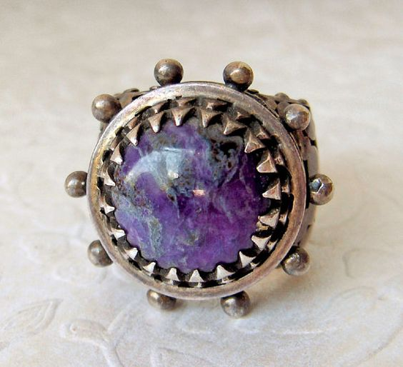 Unique Charoite Sterling Silver Ring  Art Deco   by GemstoneCowboy, $250.00