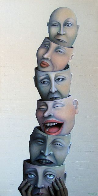 WanderingThoughts / TANKEVANDRING - painting by Tilde Studsgaard - acrylic 35X70 CM - wandering - thoughts - apathetic - angry - happy - sad - hopeful - suspicious - face - faces - eyes - tears - smile - color - totem - emotions - mask - Tilde Studsgaard