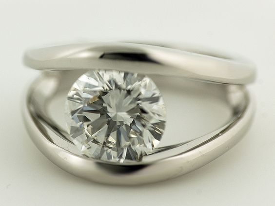 Custom Platinum Quot Floating Quot Diamond Ring To Each Her Own