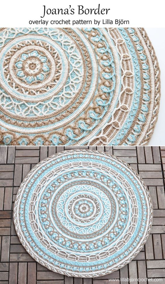 Joana's Border is an extension pattern for Joana's Mandala. Both are made in overlay crochet with lots of front post stitches and nice structure. :) http://www.lillabjorncrochet.com/2016/04/joanas-border-new-design-in-overlay.html