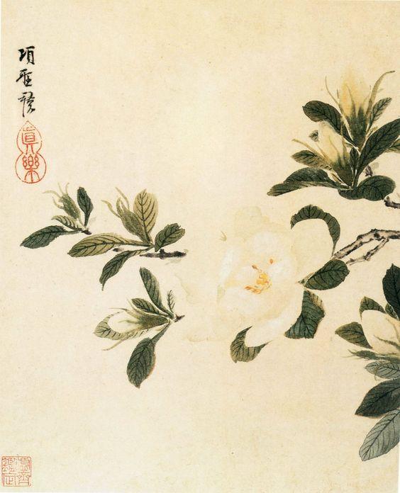 pintura china. Gardenias.: