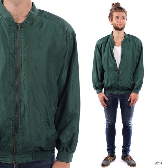 Mens Bomber Jacket . 90s Jacket . Vintage Green Silk Jacket . sz ...
