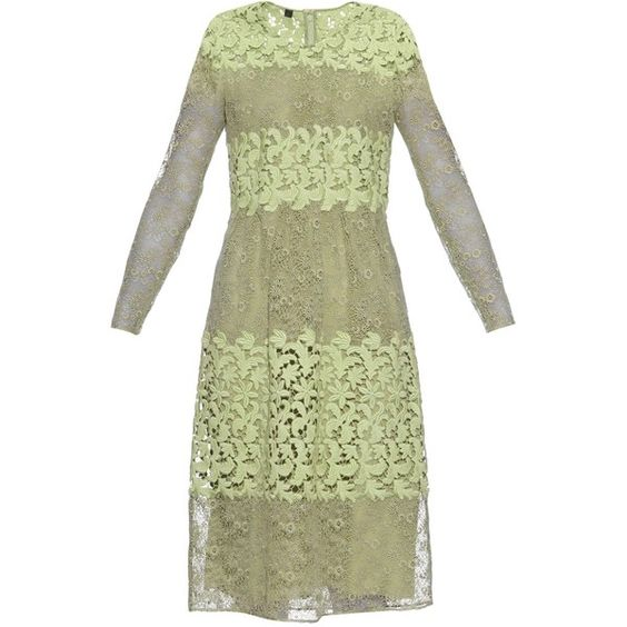 Burberry Prorsum Long-sleeved floral-lace and macramé dress (253.720 RUB) via Polyvore featuring dresses, mint, sheer dress, floral lace dress, long-sleeve lace dress, long sleeve dress и see through dress