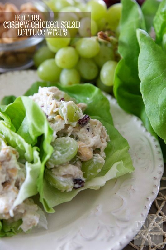 Healthy Cashew Chicken Salad Lettuce Wraps // Tried and Tasty