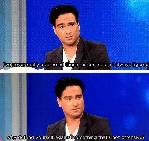 Johnny Galecki's (Big bang theory) response to rumors that he is gay. Amazing.