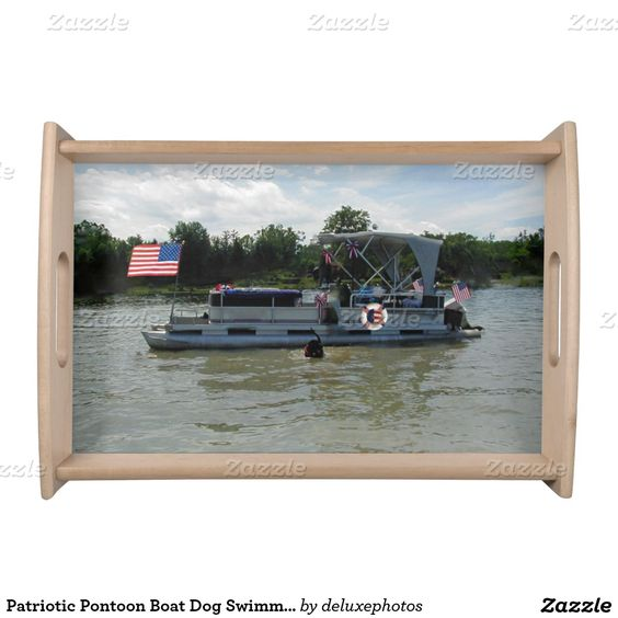 Patriotic Pontoon Boat Dog Swimming Tray Food Trays