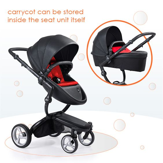 The stroller seat actually converts into a bassinet. Super ...