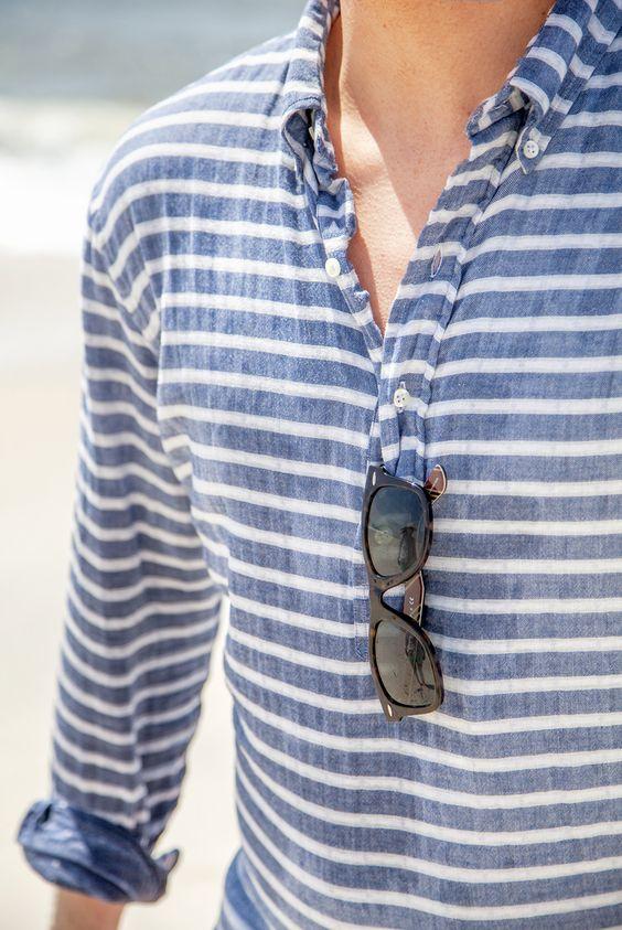 Man wearing nautical linen button up