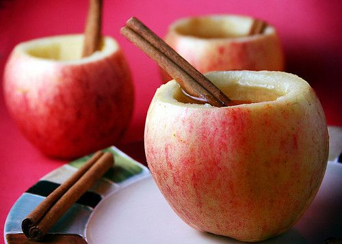 Cider in apple cups.