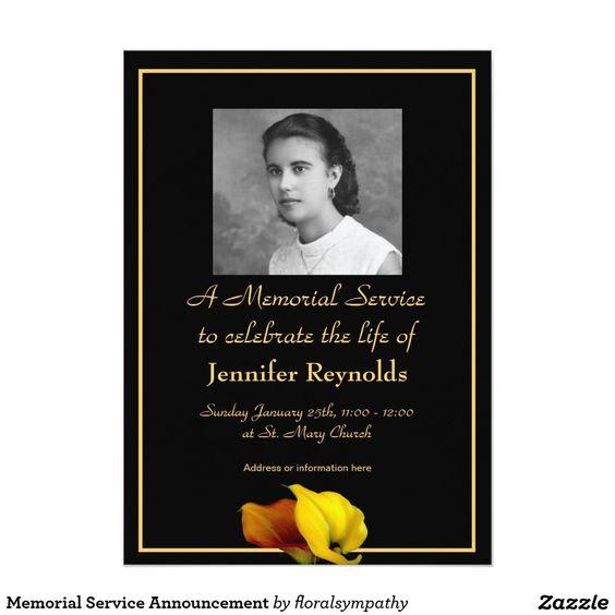 """memorial service announcement """" x """" invitation card, invitation samples"""