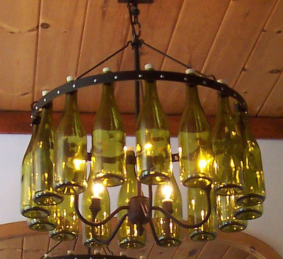 """Dead Leaf Green Wine Bottle Chandelier   16 bottles x 24"""" dia x 24"""" tall   with Wrought Iron Black fixture"""
