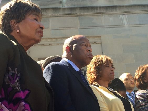"Voicing pain and anger, black Congress members demand DOJ action on police shootings ""A police violence epidemic continues to engulf the land."""