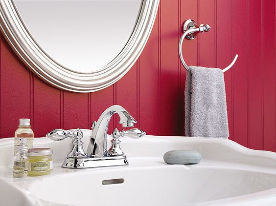 """In a well designed home, every room has its focal point, be it a bold colored wall, a shapely mirror, or stunning piece of artwork. To add """"wow"""" factor to your bath, consider adding a statement making piece.      ***Pfister Products in This Room:  Catalina Centerset Faucet & Catalina Bath Accessories"""