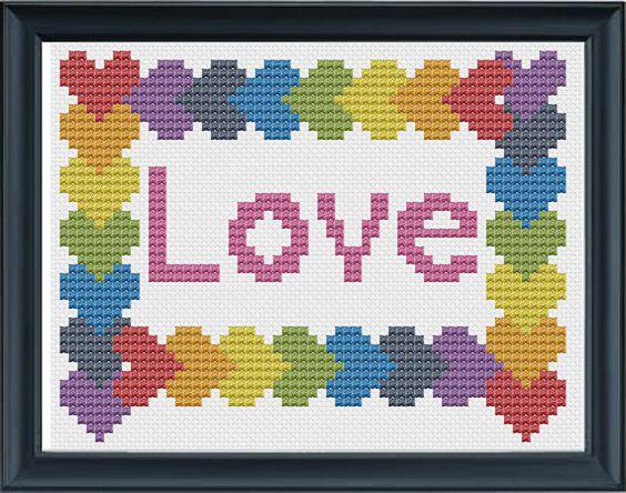 Love Cross Stitch Pattern PDF by KnitSewMake on Etsy, £2.00