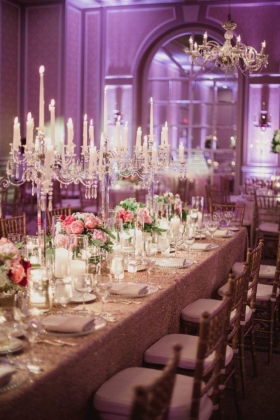 photographer: Shaun Menary; Wedding reception centerpiece idea;