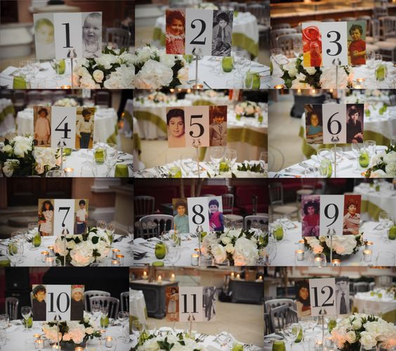 Use pictures of the bride and groom at ages corresponding with the table numbers.