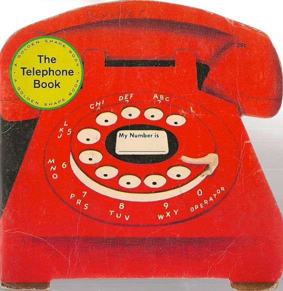 "Carton image of a red rotary dial telephone. To the upper left, a yellow circle, inside ""The Telephone Book"""