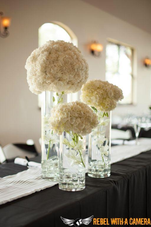 Stunning white hydrangea centerpieces wedding florals