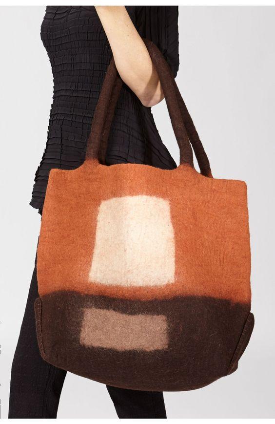 Erik & Mike Oversized Felt Bag in Brown - Closeup