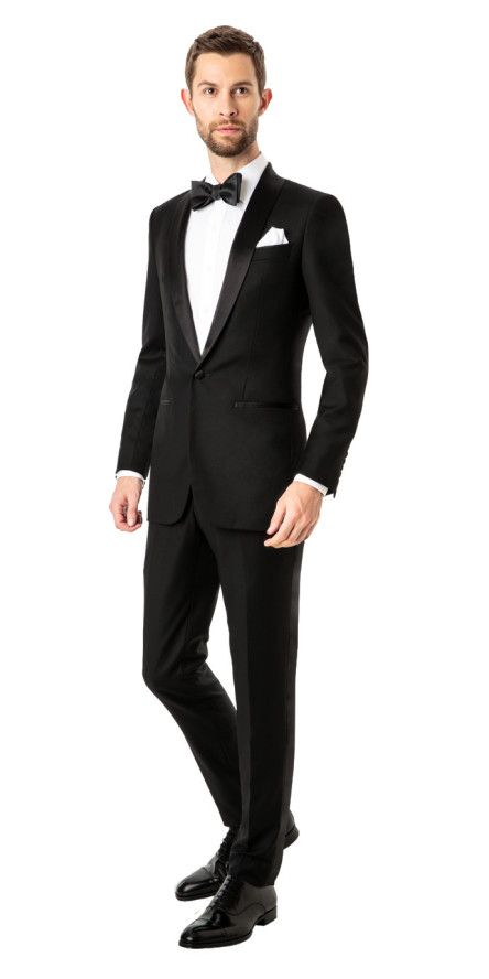 Custom Tuxedo in Black with Shawl Lapel | Black Lapel