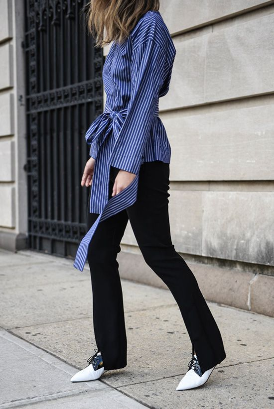 Fall / Winter - street style - street chic style - fall outfits - casual outfits - work outfits - business casual - office wear - blue and white striped belted shirt + black pants + black and white pointy toe oxfords