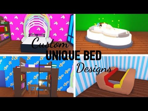 6 Custom Bed Design Ideas Building Hacks Roblox Adopt Me Its Sugarcoffee Youtube Unique Bed Design Custom Bed Bed Design