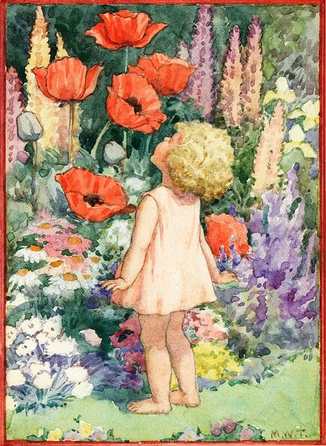 Small girl smelling large red poppies - artwork by Margaret Tarrant: