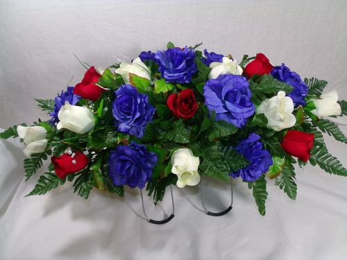 Red White Amp Blue Roses Silk Flower Cemetery Tombstone Saddle 35 99 Crafts Pinterest Red