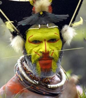 Huli Man in Papua  New Guinea