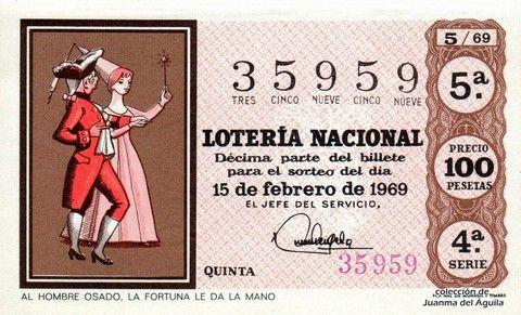 Décimo Del Sorteo Especial De Lotería De San Valentin Celebrado El 15 De Febrero De 1969 Coleccionismo Loteria Lotería Nacional Lotería Sorteo Especial