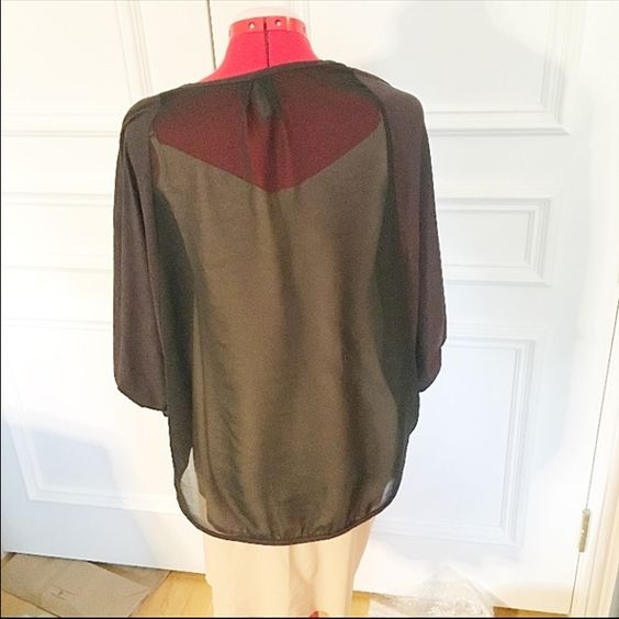 Sheer back cardigan Cardigan/shrug by Final Touch Soft suede-like material sleeves, sheer back It is blackX for some reason looks brown in pictures Size S In perfect condition Sweaters Cardigans