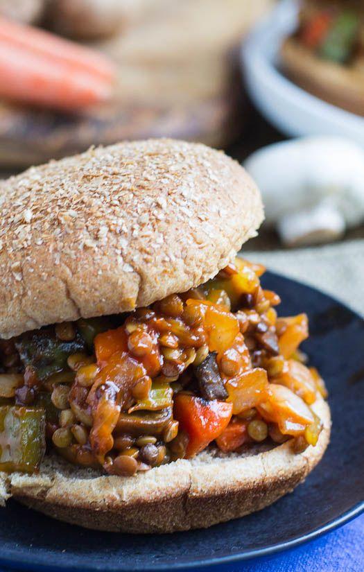 Vegetarian Sloppy Joes made with lentils and mushrooms #vegan
