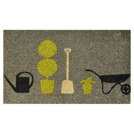 Extend a warm greeting to your guests with this lovely coir doormat, featuring a garden-themed motif in green.  Product: Doormat...