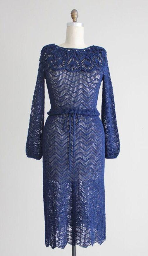 blue crochet dress / midi dress / 1970s Oscar de by allencompany