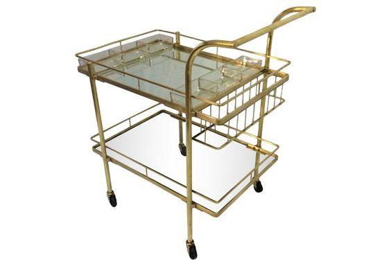 Brass Bar Cart w/ Spirits Caddy