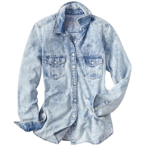 Gap 1969 Bleached Denim Boyfriend Shirt - cloud puff (53 BRL) ❤ liked on Polyvore featuring tops, blouses, shirts, blusas, tall shirts, blue long sleeve shirt, petite shirts, slim-fit shirt and petite tops