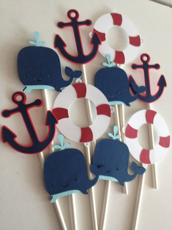 12 Nautical Themed Cupcake Topper,Whale,anchor,life raft,ship wheel, cupcake topper,banner,first birthday,baby shower on Etsy, $11.99: