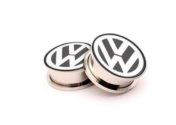 VW Volkswagen   Picture Plugs in size by ArtEarGauges on Etsy, $17.95
