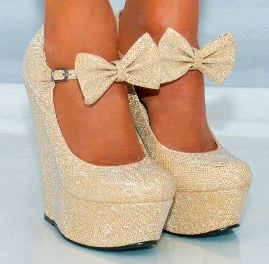 Ladies Gold Sparkly Metallic High Heels Wedges Glitter Wedged Bow ...