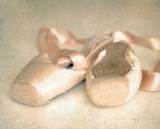Ballet shoes pastel pink romantic dance photography closeup dreamy pointe shoes dancer - Dance Away 8 x 10 on Etsy, $20.00