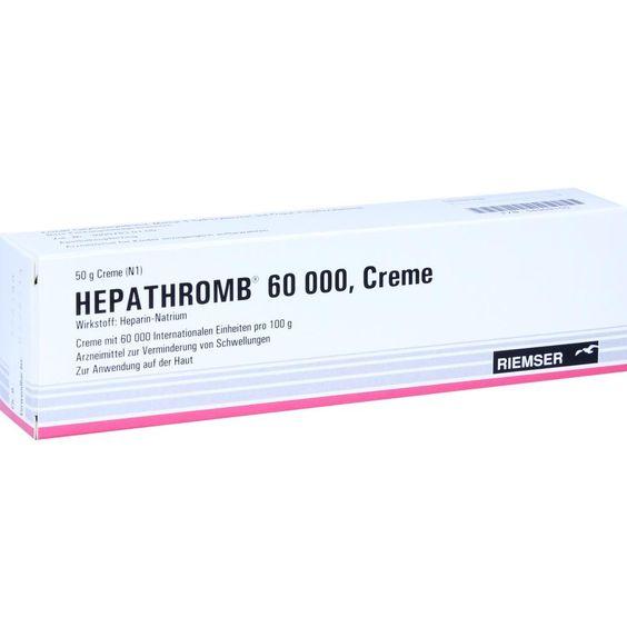 HEPATHROMB Creme 60.000:   Packungsinhalt: 50 g Creme PZN: 04909150 Hersteller: RIEMSER Pharma GmbH Preis: 4,59 EUR inkl. 19 % MwSt.…