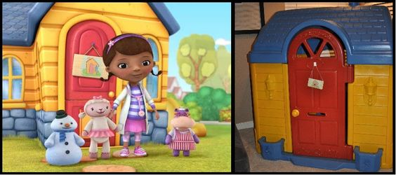 DIY project.  Repainted plastic Fisher Price / Little Tikes outdoor playhouse to replicate Disney's Doc McStuffins Clinic. Used Krylon Fusion spraypaint for plastics.