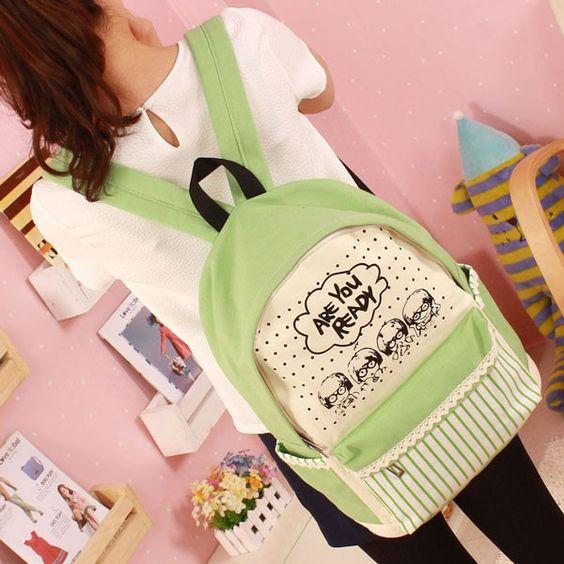 Fresh Lace Cartoon Canvas Computer Bag/Backpack/Schoolbag |Shoulder Bags - Fashion Bags - ByGoods.com