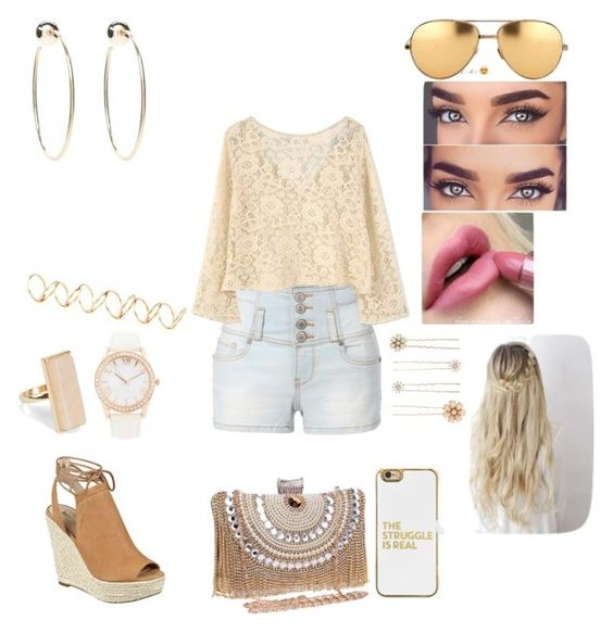"""""""Untitled #395"""" by mya-zari ❤ liked on Polyvore featuring GUESS, LE3NO, MANGO, H&M, Forever 21, Bebe, Linda Farrow, BaubleBar, NLY Accessories and Accessorize"""