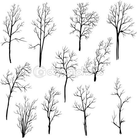 Insieme di alberi diversi inverno — Vettoriali Stock © cat_arch_angel #53876153